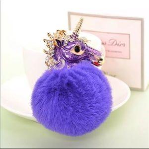 New Purple Unicorn Pom Pom Purse Charm/Keychain